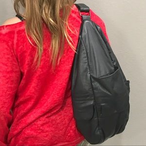 Black Leather One Shoulder Backpack